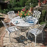 Lazy Susan - Table Ronde 120 cm Alice et 4 chaises de Jardin - Salon de Jardin en Aluminium moulé, Blanc (chaises April)...