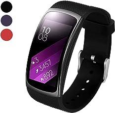 BeYself für Samsung Gear Fit 2 Pro/Fit 2 Armband Soft Silikon Sport Armband Ersatzband Gurte für Samsung Gear Fit 2 Pro SM-R365 und Gear Fit 2 SM-R360 Smartwatch (Schwarz)
