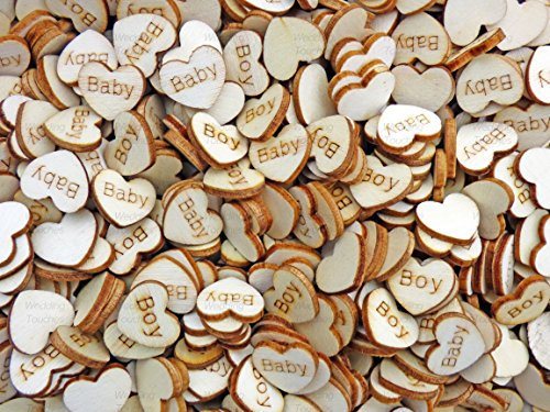 Bébé garçon 15 mm cœurs en bois style shabby chic vintage craft Scrapbooking embellissements Confetti Cœur, Bois dense, beige, 15 mm