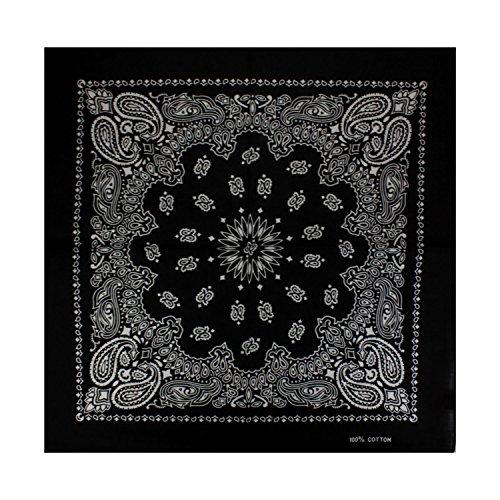 Alex Flittner Designs Bandana Kopftuch Halstuch Nickituch Biker Tuch mit exclusivem Paisley Muster in schwarz