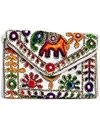 Art Godaam Hand Stiched Cotton Embroidery Clutch - B07CNX7X5T