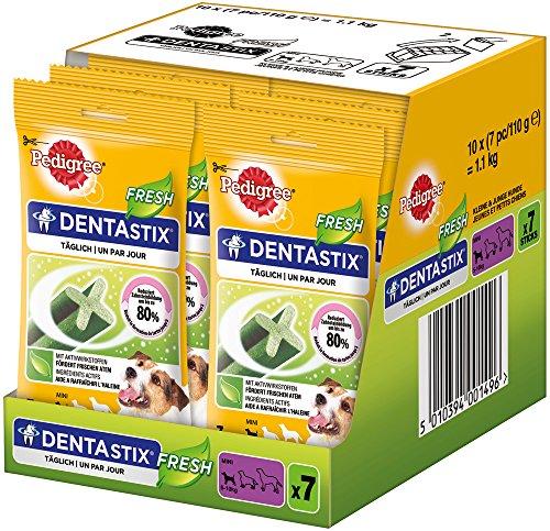 Pedigree Denta Stix Fresh Hundeleckerli für kleine Hunde / Kausnack gegen Zahnsteinbildung / Für gesunde Zähne und einen frischen Atem / 10x7 Stück