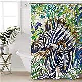 saknn-da Duschvorhang Zebra-dekorativer Duschvorhang-wasserdichter tropischer Regenbogen-Tierbad-Vorhang mit Haken für Badezimmer