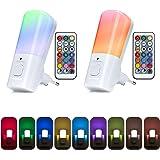 Yafido 2 Pack Veilleuse Enfant Prise Electrique, Lampe Enfant Nuit Télécommande 9 Couleurs Réglables RGB Luminosité, Dimmable