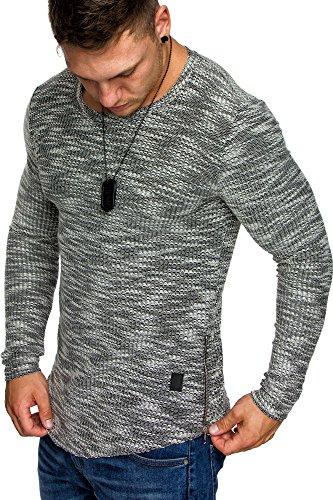 Line Kurzarm Crewneck Tee (Amaci&Sons Oversize Vintage Herren Longsleeve Zipper Sweatshirt Crew-Neck Shirt 6041 Schwarz L)