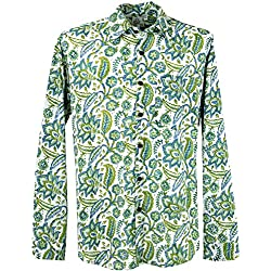 GURU-SHOP Goa Camisa Hippie, Camisa de Los Hombres, Verde, Algodón, Tamaño:XL, Camisas de Hombre
