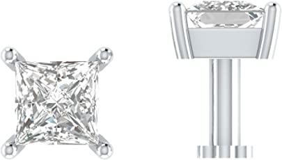 Hansika Jewels 1/4 Ct Princess Cut Sim. Diamond .925 Sterling Solitaire Nose Stud Pin Bone Ring