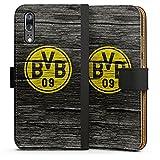 DeinDesign Huawei P20 Tasche Leder Flip Case Hülle Borussia Dortmund BVB Holzoptik