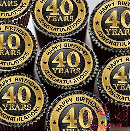 24 vorgeschnittenen Happy 40th Birthday Rund Fondant essbaren Kuchen, Dekorationen aus