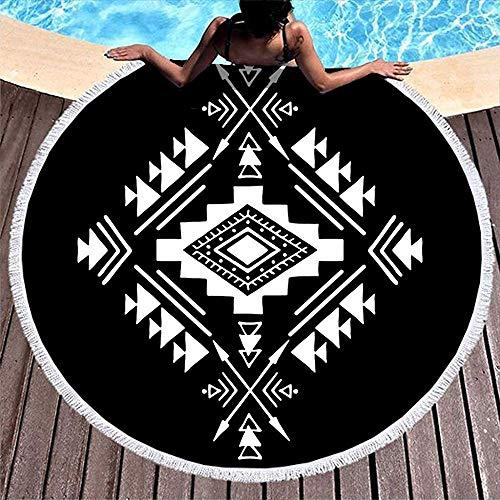 Leo-Shop Aztekische Element ethnischen Stammes-Pfeile Tattoo Print langlebig Runde BadetuchVintage Runde Fringe Beach Throw Pool/Badetuch