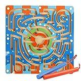 Labyrinthe de Piste Magnétique en Bois, Familizo Jouets éducatifs pour L'intelligence des Enfants Faites Glisser le Jeu de Balle (Multicolore, 28.5 * 28.5 * 2cm)
