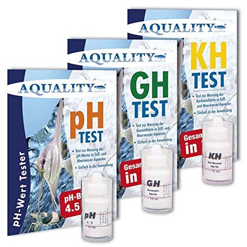 AQUALITY 3-fach Wassertest-Set pH, GH und KH Test (Aquarium & Gartenteich Tropfentest - Schnell und einfach den pH-Wert, die Karbonathärte und die Gesamthärte im Aquarium und Gartenteich messen. Jetzt im Spar-Set)