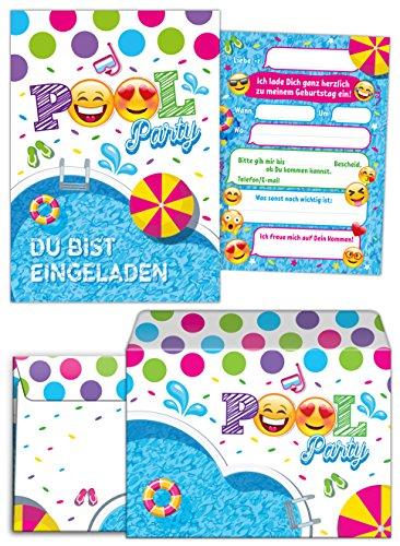 Geburtstag Kinder Schwimmbad incl. 12 Umschläge für Mädchen Jungen Jungs Einladungen zum Kindergeburtstag Geburtstag Geburtstagseinladungen Set Partyset Kartenset Party ()