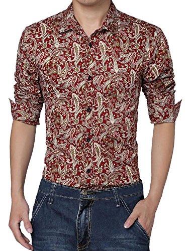 Allegra K Männer Langarm Knopfleiste Paisleys Freizeithemd Langarmshirt slim fit (Reichen Baumwolle-button)