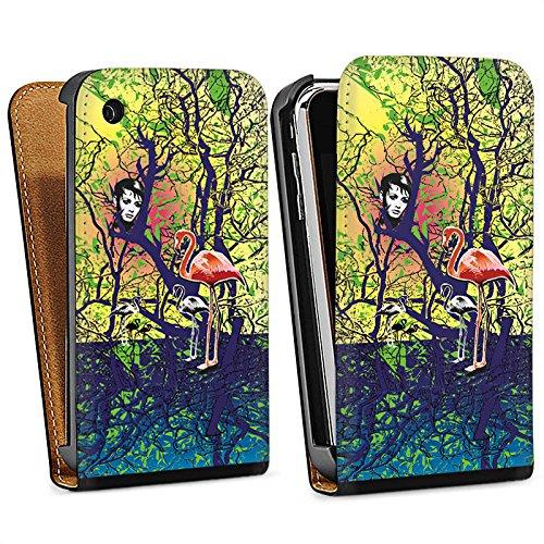 Apple iPhone 5s Housse Étui Protection Coque Flamand rose Forêt Magie Sac Downflip noir