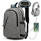 XQXA Anti Theft Backpack with Lock Slim Laptop Backpack with USB Charging Port and Earphone Port Fits 15.6 Inch Computer Notebook Water Resistant Rucksack for Work, College, Business, Trip - Grey