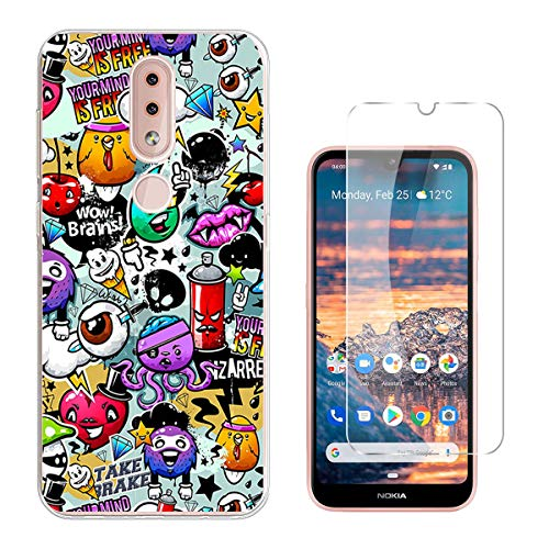 QFSM 1Pcs Transparent Schutzhülle Shell hülle silikon Weich TPU Case Für Nokia 4.2 Dual SIM Smartphone (5.71 Zoll) + 1 Pack Gehärtetes Glas Panzerglas Folie-XS40