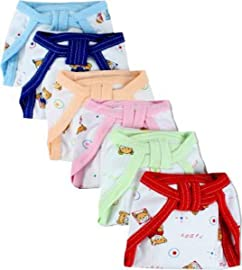 PEUBUD ® New Born Baby Super Soft Reusable Cotton Hosiery Nappies   Langot   Cloth Diaper  0 3 Months   Set of 6