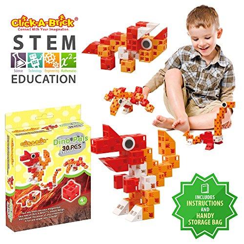 Produktbild Click-A-Brick Dino Gefährten 30er Bausteine Set / Bestes Mint Spielzeug für Jungen & Mädchen Alter 4 5 6 Jahre / Fun Kids 3D Bau-Puzzle / Top Lerngeschenk für Kinder im Alter von 4-10 Jahren
