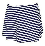 Azue Damen Bikinirock mit Integrierter Baderock mit Innenslip Schwimmen Strandrock mit Volant Design Blau und Weiß Streifen 36-38 Blau und Weiß Streifen EU 36-38 (Tag M)