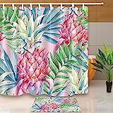 Exotic Garden Pflanze Decor Watercolor Ananas mit Palm Blätter 180x 180cm Polyester-Schimmelresistent-Duschvorhang Anzug mit 60x 40cm Flanell rutschfeste Boden Fußmatte Bad Teppiche