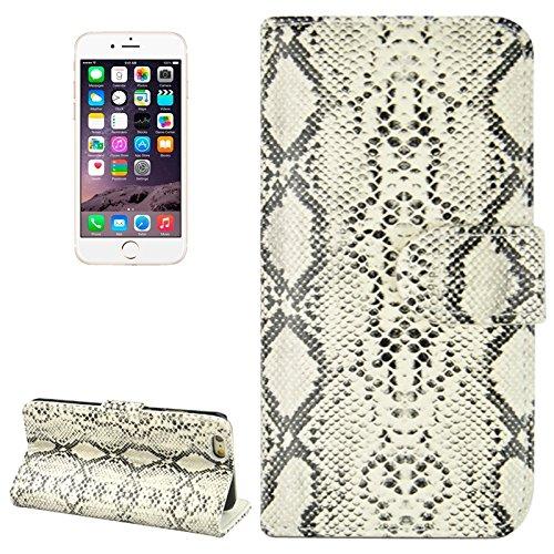 Phone case & Hülle Für IPhone 6 / 6S, Snakeskin Textur Horizontale Flip PU Ledertasche mit Card Slot & Halter ( Color : Grey ) Khaki
