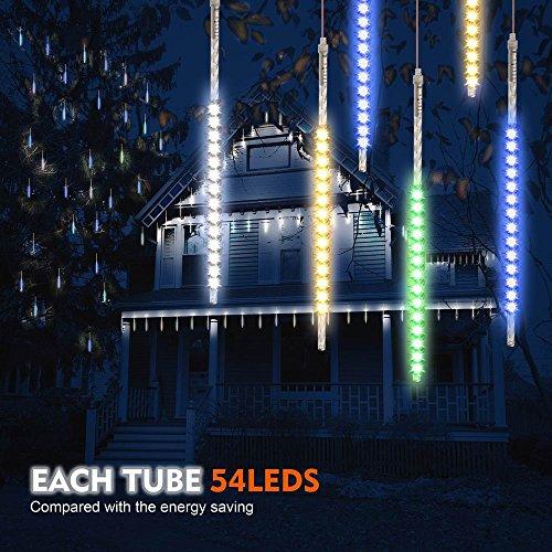 Samoleus 50cm 10 Tube 540 LEDs Meteorschauer Lichterkette Innen, IP65 Wasserdichte Meteor Shower Lichter mit EU Stecker, Meteorschauer Regen Lichter für Party Weihnachten Dekoration Außen (Farbe-50cm) -