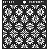 thecraftshop Daisy Background Reusable Painting Template for Art and Craft, Mixed Media, Wall Painting, Home Decor, DIY Albums, Card Making and Fabric Painting (6 x 6 Inches)