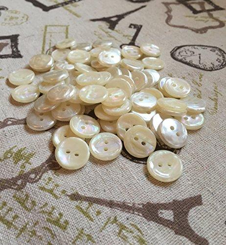 10Bottoni 2Fori 15mm, effetto crema perla Camicia Camicetta Arti e mestieri (R.40)