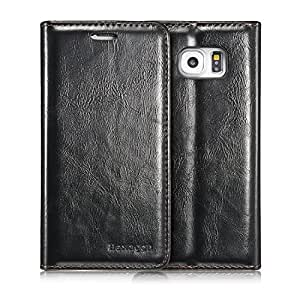 Samsung Galaxy S7 and Galaxy S7 Edge - Galaxy S6 and Galaxy S6 Edge Hexagon Case - Luxury Wallet Magnetic Flip Cover Leather Case for Galaxy S7, S7 Edge and S6, S6 Edge (S6 Black)
