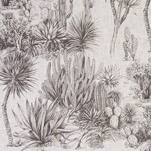 SCHÖNER LEBEN. Dekostoff Gardinenstoff Wüste Kakteen Felsen Palmen Creme grau 1,5m Breite
