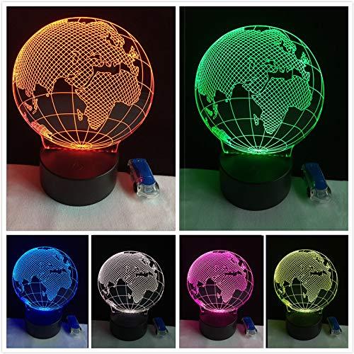 RMRM 3D Nachtlicht Visuelle 3D -Karte Globus Nacht 7 Color Gradient Schreibtisch Tischlampe Nachttischlampe Kind KindergeburtstagGeschenke