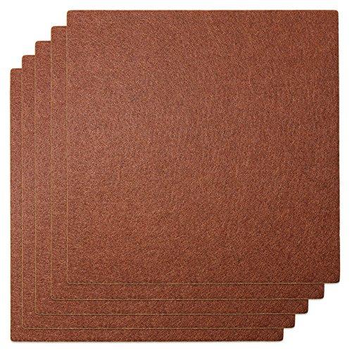 clapur Filzgleiter 20 x 20 cm, 5 hochwertige Nadelfilz-Gleiter, zuschneidbar, selbstklebend, extra druckfest. Zum schneiden für Möbel, Stühle und Tische Farbe: braun