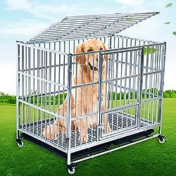 SL&ZX Klappbarer Metall hundebox,Hund kiste Abdeckung hundezaun Einzelne Tür Pet laufstall Pet Kennel Tragbare Katze Cage zwinger Hund Haustier laufstall-A 108x72x92cm(43x28x36inch)