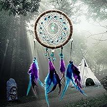 Acchiappasogni Naturale tradizionale Perlina nativa circolare netto con piume da appendere alla parete decorazione ornamento, stile indiano