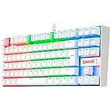 Redragon K552RGB Kumara White - Teclado Gaming Mecánico - Tenkeyless - Interruptores Rojos - Reforzado - Retroiluminado RGB -