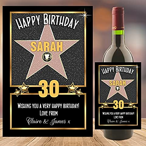 Personalised Hollywood Star Happy Birthday WINE / CHAMPAGNE BOTTLE PHOTO LABEL ~ 18th 21st 30th 40th 50th Birthday Gift Idea N115 Any Age (Wine Size (9cm w x 13cm