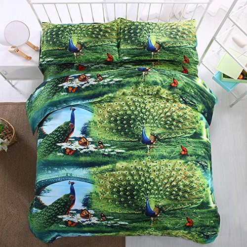 3D Tier Drucken Bettwäsche-Set Schlafzimmer Flaches Blatt Bettwäsche 4Pcs 1 Bettbezug, 1 Bettwäsche, 2 Kissenbezüge , A , 150X200Cm