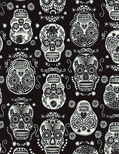 Totenkopf Stoff–Glow in the Dark Skulls mexikanischen Folklore schwarz–tt64–von 0,5Meter–100% Baumwolle