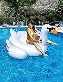 Woneart Riese Schwimmring Aufblasbarer Flamingo/Einhorn Schwimmring Pool Party Aufblasbare Schwimmhilfe für Erwachsene Kinder Schwimmen Float Planschbecken Raft Liege Luftmatratzen Strand-Badespielzeug (White Swan, 150x150x90CM)