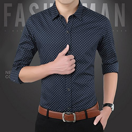 Zicac Camicia stile inglese da uomo maniche lunghe a pois stile casual Blue