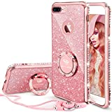 OCYCLONE Coque iPhone 7 Plus, Coque iPhone 8 Plus, Brillante Diamant Glitter Strass Rhinestone Case, Pailleté Bague Support Anneau Stand Anti Choc iPhone 7 Plus/8 Plus Coque Fille Femme - Oro Rose