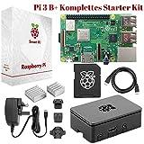 Raspberry Pi 3 B+ Komplettes Starter-Set – Anfänger Set mit Pi3 B+ Motherboard, 64-Bit Quad-Core 1,4 GHz, 32GB Bereits installiertes Noobs, W-LAN, Pi3-Gehäuse, Netzteil, HDMI-Kabel & 2 Kühlern
