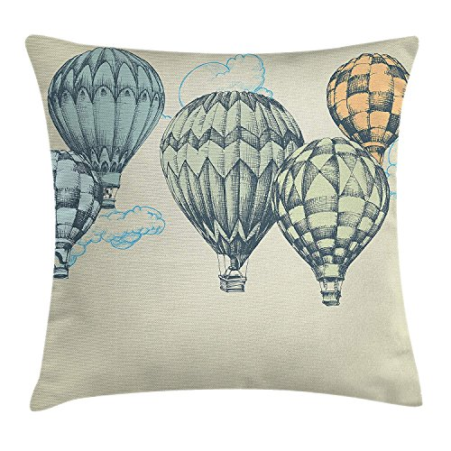 ghkfgkfgk Hot Air Balloons in Soft Tone Fly in Sky Lighter Than Air High Tourism ArtfulVintage Decor Throw Pillow Cushion Cover Decorative Square Accent Pillow Case 18 X 18 Inches Green Blue