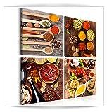 decomonkey Bilder Küche Gewürze 40x40 cm 4 Teilig Leinwandbilder Bild auf Leinwand Vlies Wandbild Kunstdruck Wanddeko Wand Wohnzimmer Wanddekoration Deko Paprika Kitchen