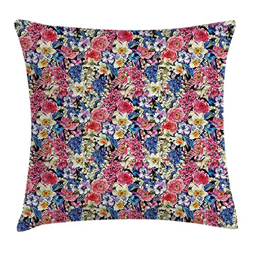 Country Home Decor Throw Pillow Cushion Cover, Vintage Bouquet Corsage Willow Lilies Hyacinths Muscari Botanical Bridal, Decorative Square Accent Pillow Case, 18 X 18 inches, Multicolor