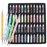 48 Bottiglie Glitter + 5 Penne per Unghie Decorazioni Colorati Paillettes Polvere