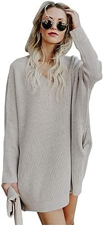 Damen Strickkleid Langarm Pullover Kleid Sunday Mode Herbstkleid Pullikleid Lange Oberteile Kleid Winterkleid Minikleid Bekleidung