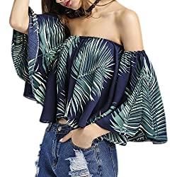 Dame Aus Schulter Bluse Hiroo Bananen Blätter Schrägstrich Flare Hülle beiläufige Oberseiten Pfau Blau (XXL)
