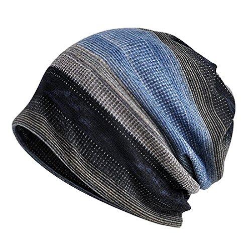 7e3f4f31ee6 KeepSa Mens Stripes Beanie Chapeau Outdoor Winter Plus Cachemire Bonnet  Chaud Chapeau Multi-Fonction Écharpe